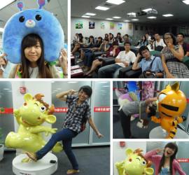 ▲ 在杭州,參訪知名企業「中南卡通公司」,聽取簡報、參觀文創週邊商品。