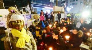 韓國大學生冒著嚴寒示威,抗議撤走日本駐韓大使館前的慰安婦少女銅像。(網路圖片)